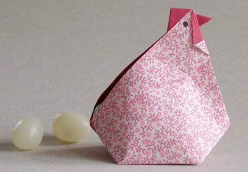 Une poule en origami
