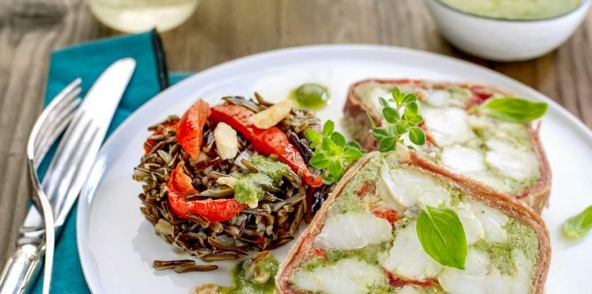 Terrine de lotte aux tomates confites & salade de riz sauvage