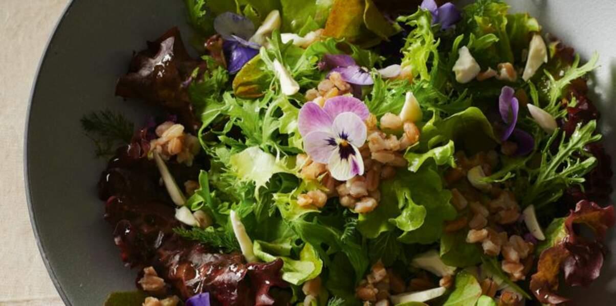 Salade d'herbes et céréales aux pensées sauvages
