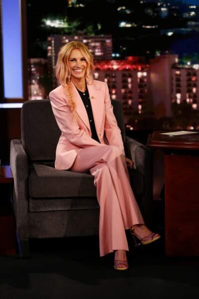 """Julia Roberts sur le plateau de l'émission """"Jimmy Kimmel live"""" en novembre 2018"""