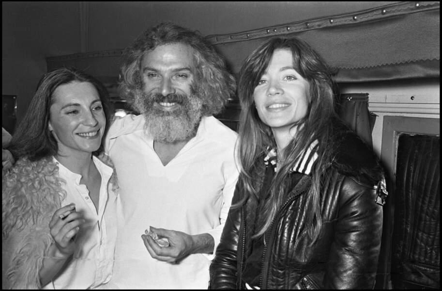 Françoise Hardy et Catherine Lara au concert de Georges Moustaki à Bobino en 1976.