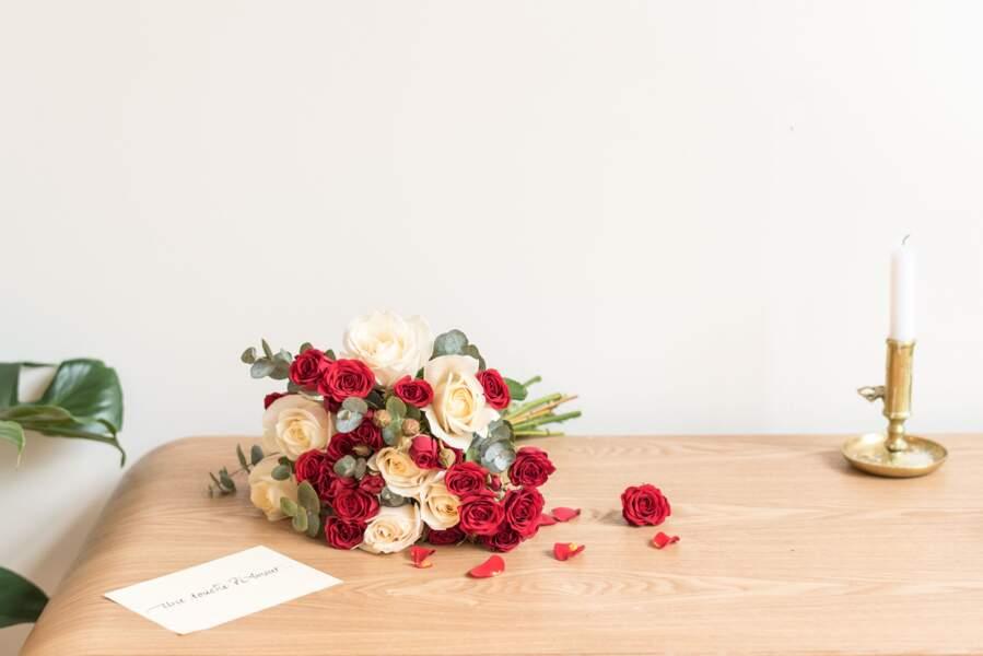 Bouquet de Saint Valentin et mot doux - Bergamotte