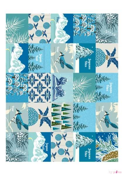 Planche étiquettes bleues