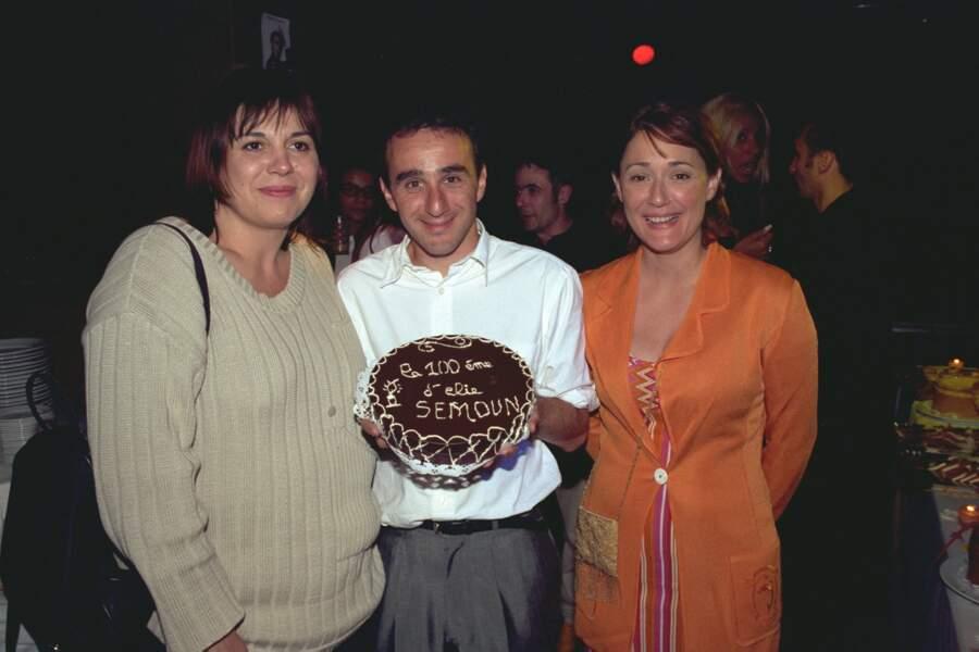 Michèle Bernier et Daniela Lumbroso pour la 100ème du spectacle d'Elie Semoun en 1999.
