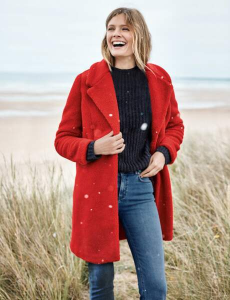 Manteau fluffy : rouge passion