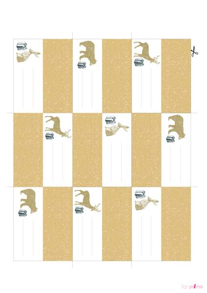Planche étiquettes animaux dorés