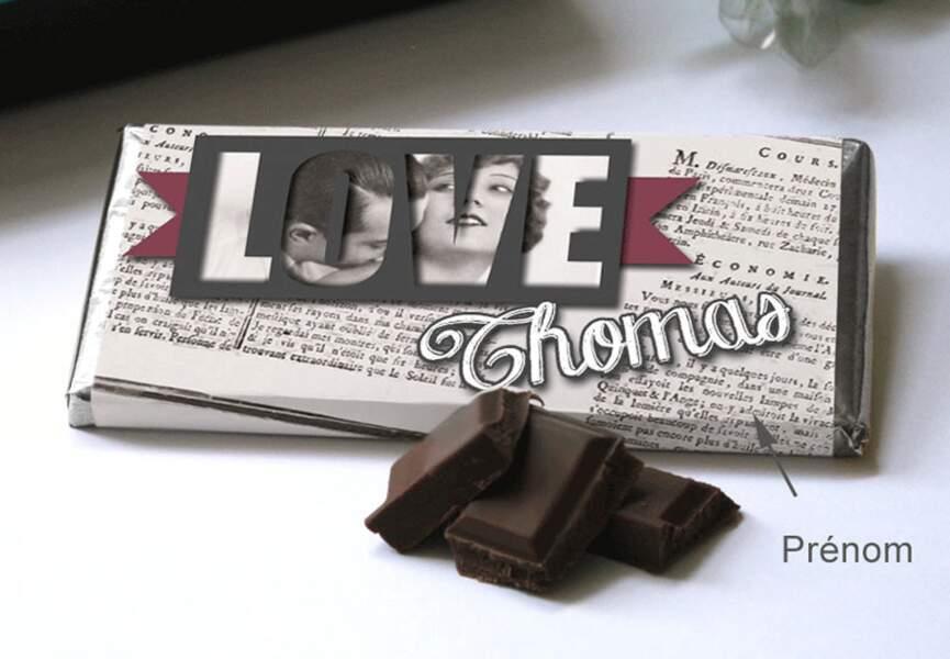 Une tablette de chocolat personnalisée
