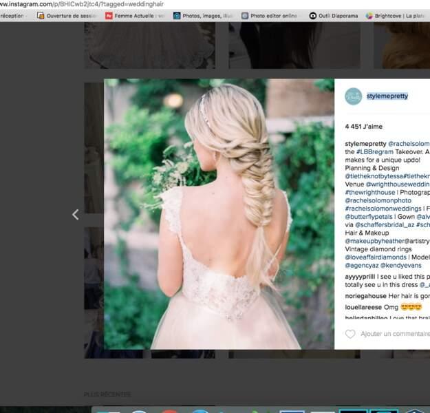 Coiffure de mariage pour cheveux longs : la tresse épi oversize