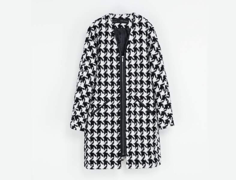Manteau pied-de-poule Zara
