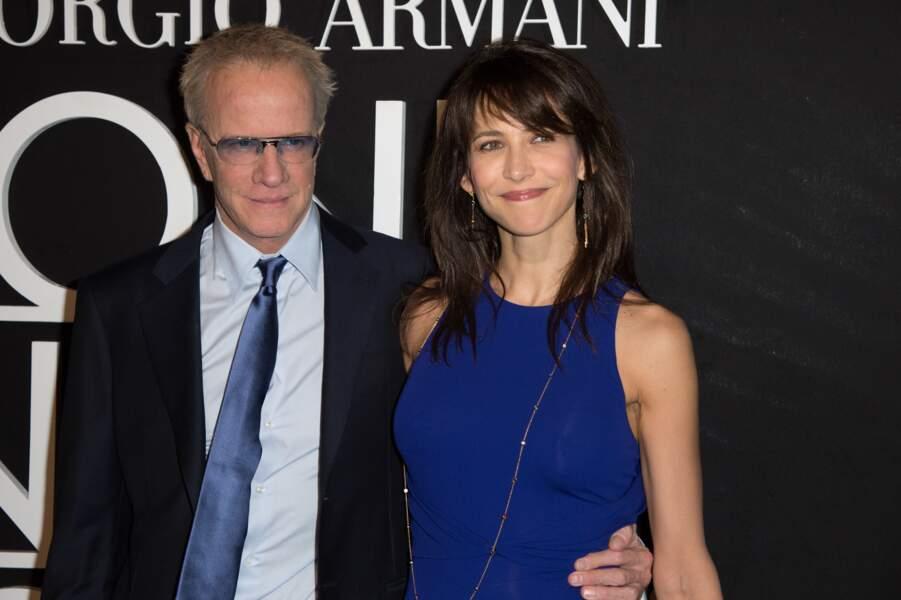 Sophie Marceau et Christophe Lambert au défilé Giorgio Armani en 2014.