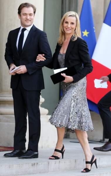 Laurence Ferrari et Renaud Capuçon lors du dîner officiel au Palais de l'Elysée en l'honneur de Shinzo Abe (2014)