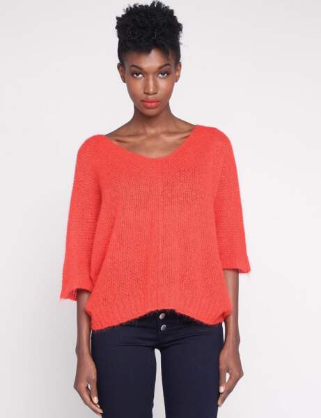 Tendance orange : le pull lose