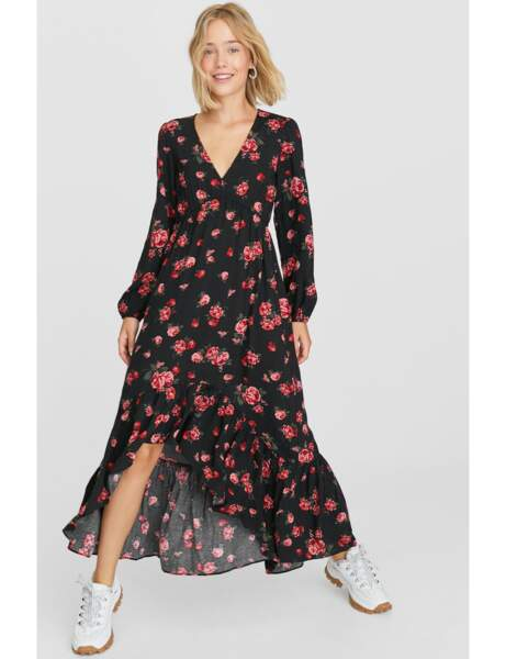 2019 Robe longue à bretelles pour femme Motif floral bohème