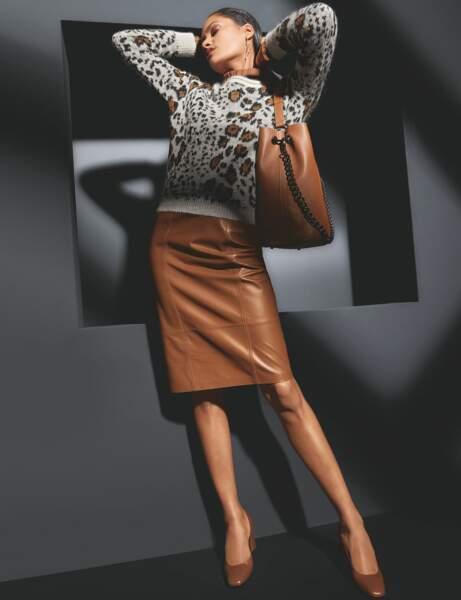 Jupe en cuir ou effet cuir : féminine