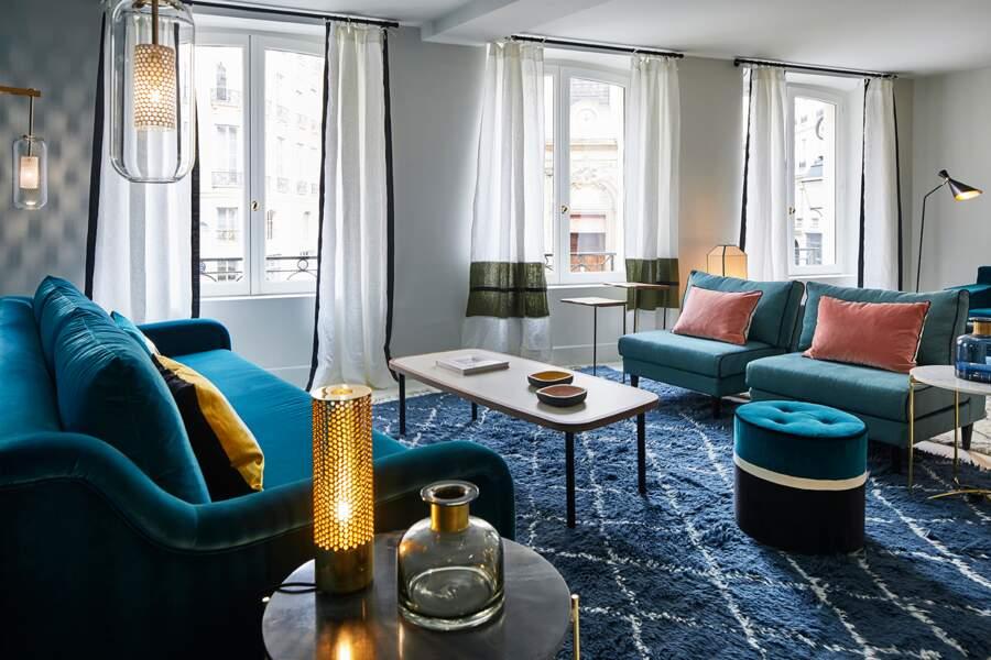 Salon bleu de la Maison Sarah Lavoine