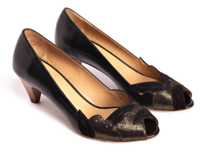Chaussures de soirée : les escarpins à bout ouvert