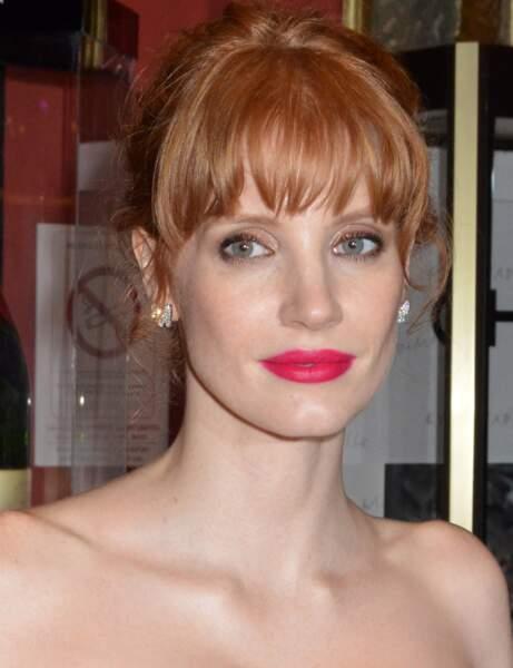 Jessica Chastain : son rouge à lèvres fuchsia