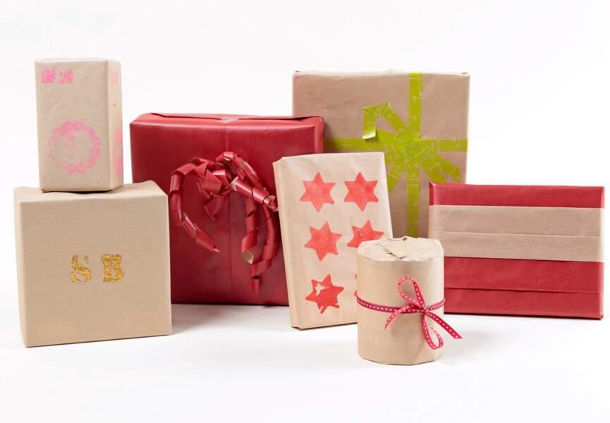 Paquets-cadeaux personnalisés : tampon, pochoir…