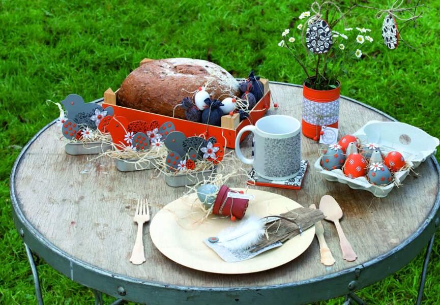 Une déco orange et grise pour Pâques