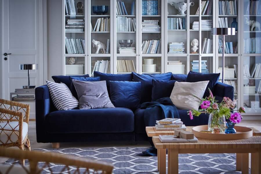 Canapé 3 places bleu foncé