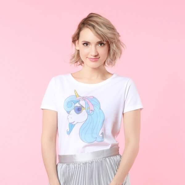 T-shirt Licorne Rétro bleue