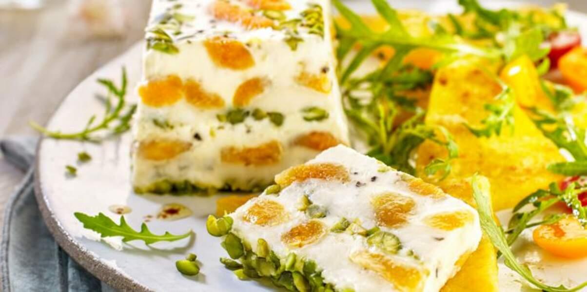 Terrine de gorgonzola aux abricots & roquette à la polenta grillée