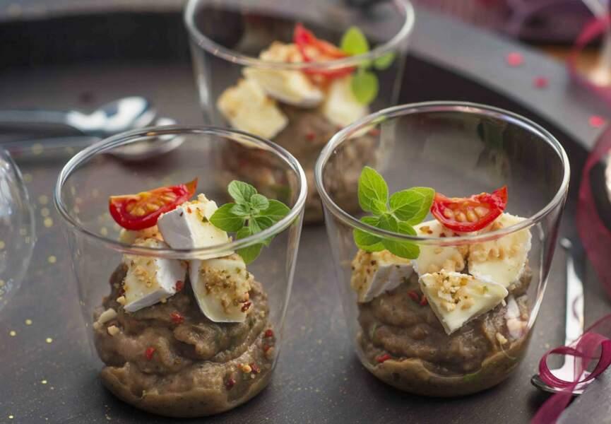 Caviar d'aubergine, crumble cacahuète