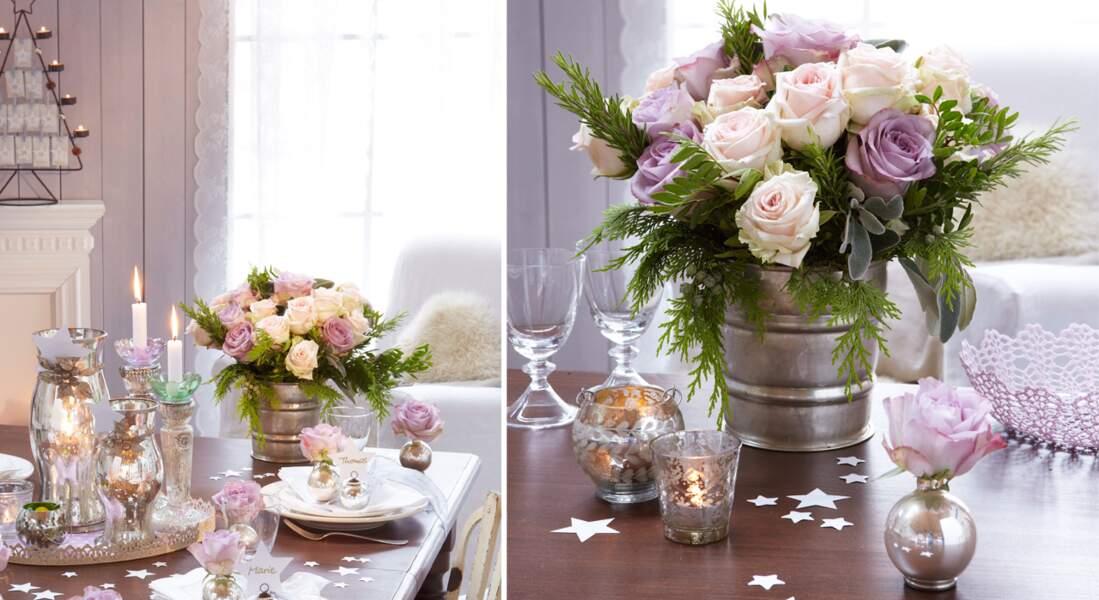 Une composition florale de Noël : roses, pistachier et thuya