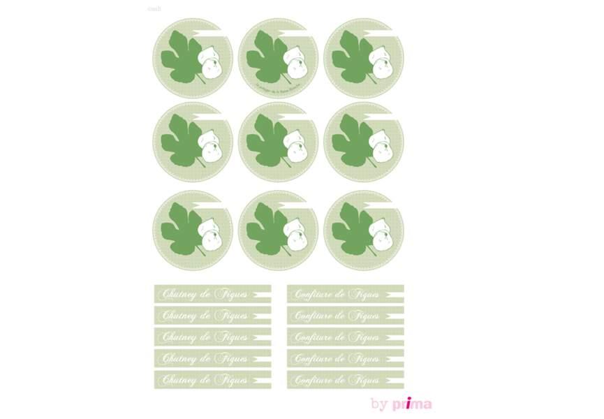 Etiquettes vertes pour confitures de figues