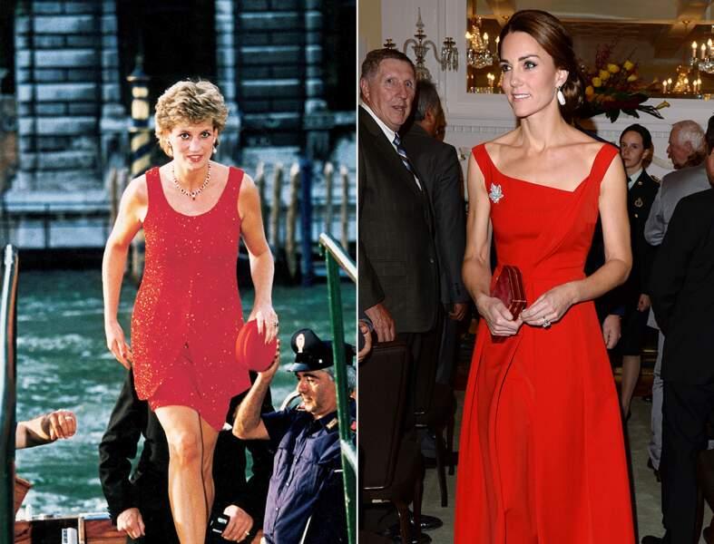 ...réception en robe rouge vif...