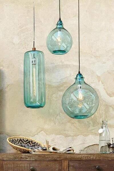 Suspensions en verre turquoise