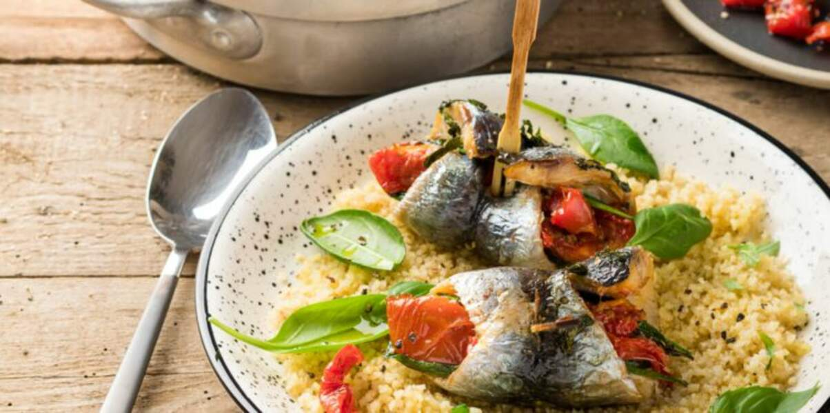 Filets de sardines farcis aux tomates confites, basilic et épinard