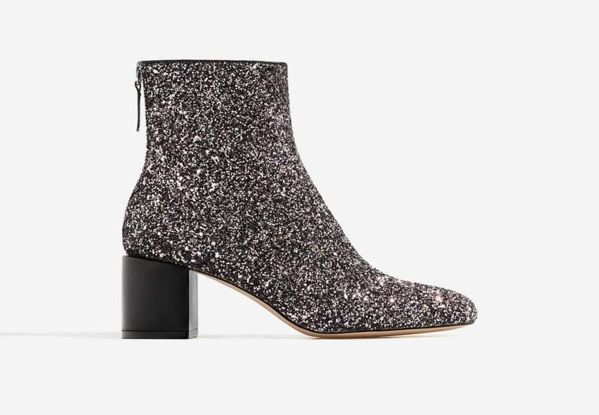 Chaussures de soirée : les bottines à paillettes