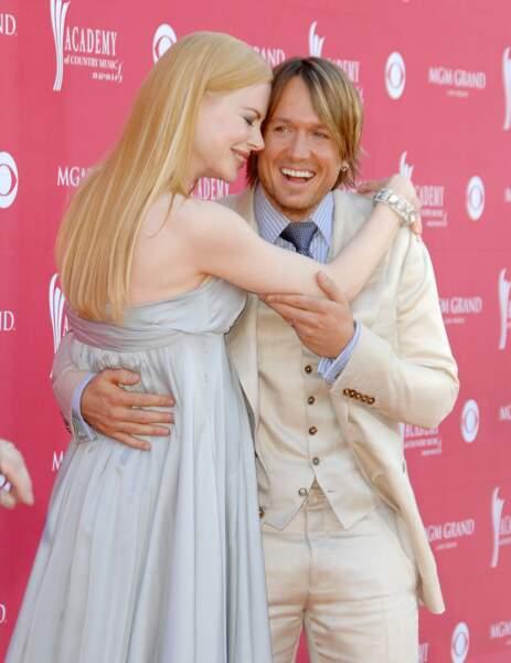 Nicole Kidman, enceinte, et Keith Urban à la cérémonie des Country Music Awards à Las Vegas en 2008.