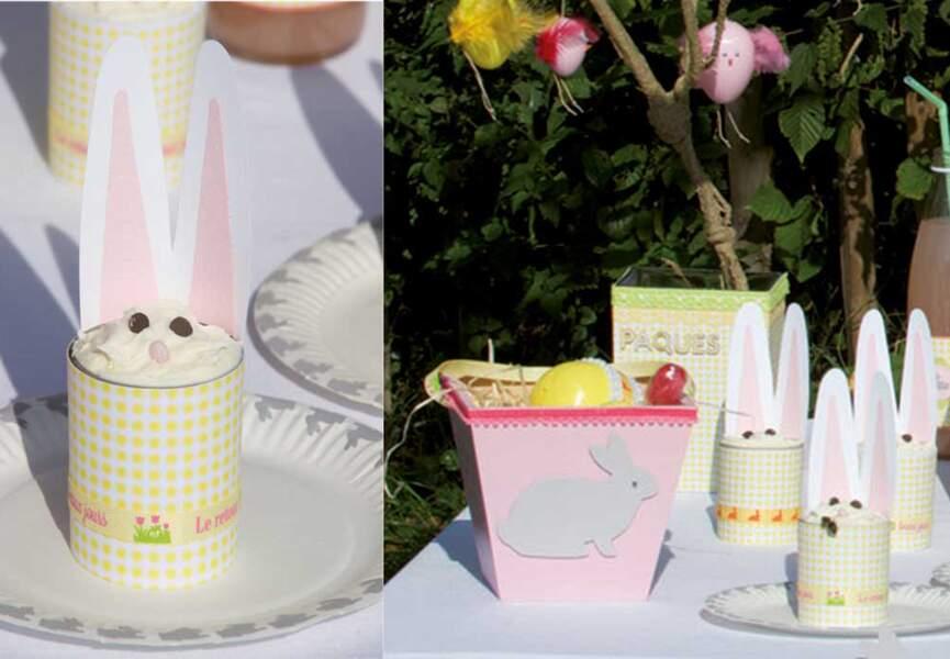 Déco de table pour Pâques : des verrines lapins