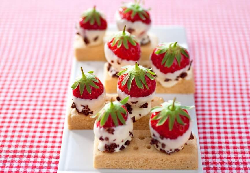 Les barquettes de fraises au chocolat