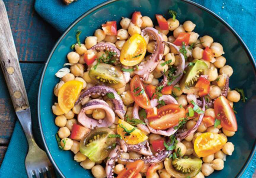 Salade de pois chiches aux calmars