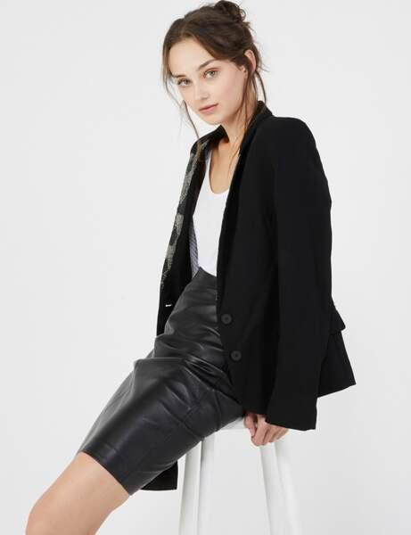 Jupe en cuir ou effet cuir : businesswoman