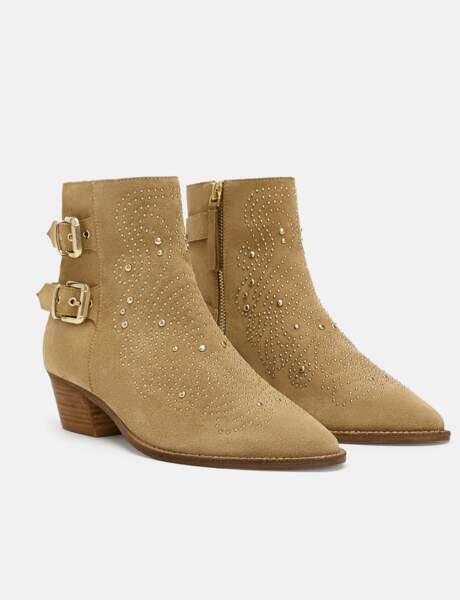 Zara en daim clous dorés bottines bottes rouges