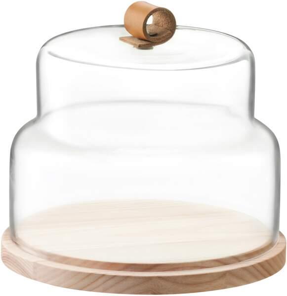Cloche et plateau en verre et bois