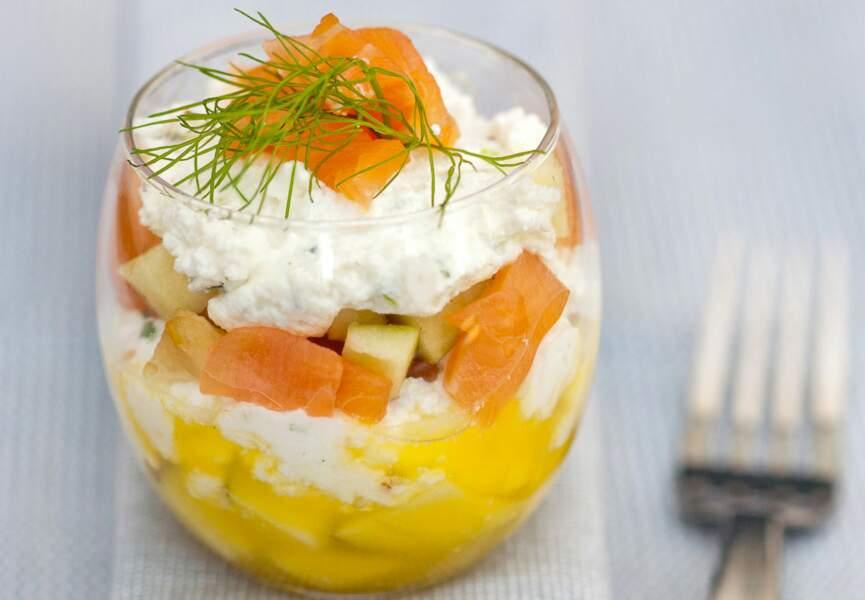 Verrines de saumon et fromage frais