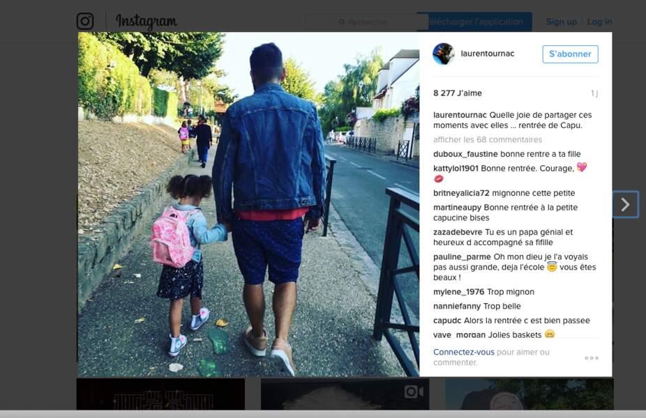 Capucine, 3 ans et demi, la fille de Laurent Ournac, n'a pas l'air ravie de sa rentrée