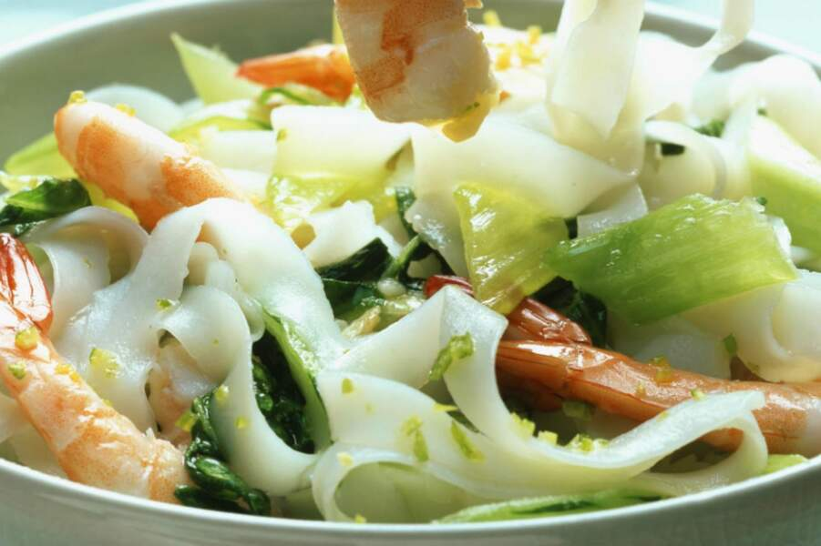 Tagliatelles aux crevettes version Thaï
