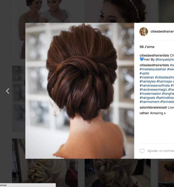 Coiffure de mariage pour cheveux longs : le chignon moderne
