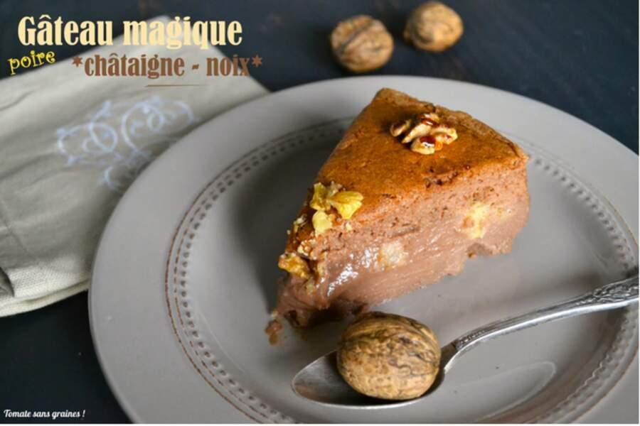 Gâteau magique aux châtaignes et noix, sans lactose et sans gluten