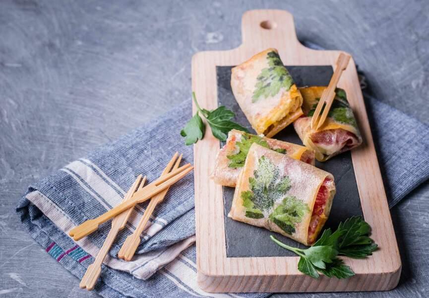 Petites bricks au persil, Raclette RichesMonts et viande des Grisons