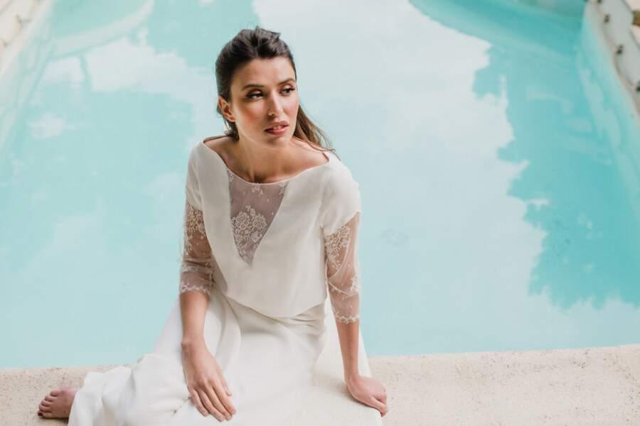 Mariage en hiver : Robe de mariée Vertigo par Sophie Sarfati