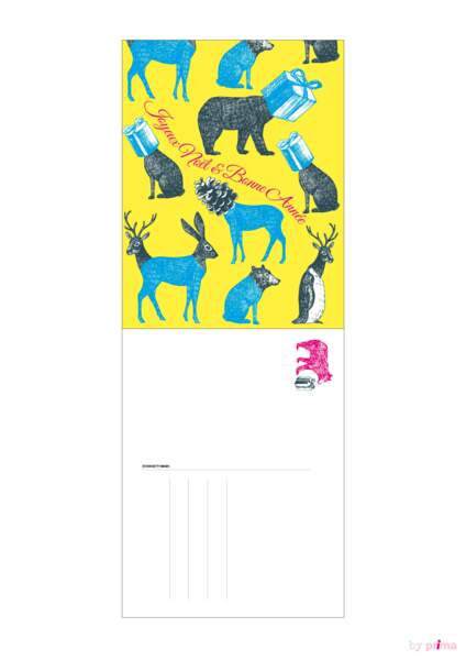 Carte de voeux animaux fluo pop