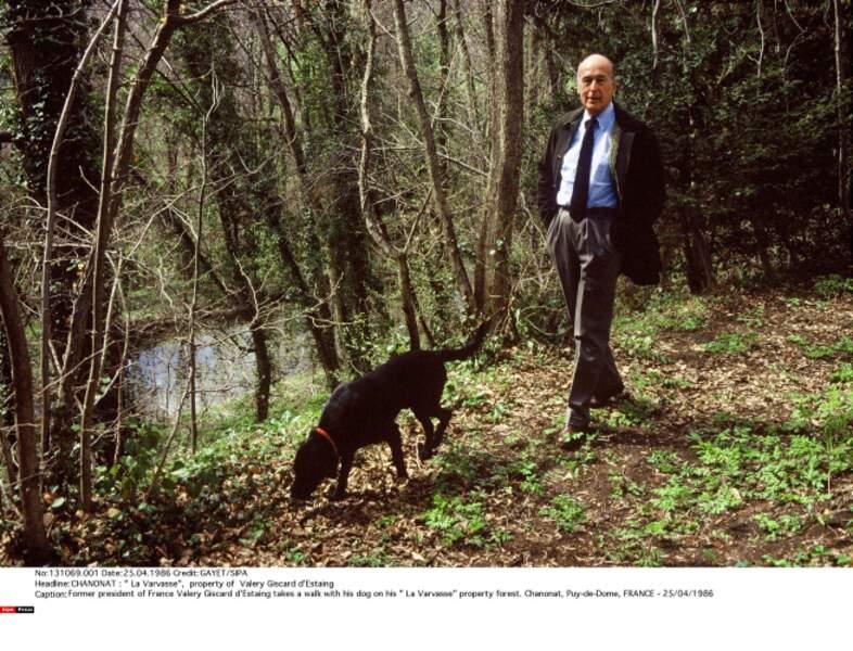 Valery Giscard d'Estaing en promenade avec Samba en 1986