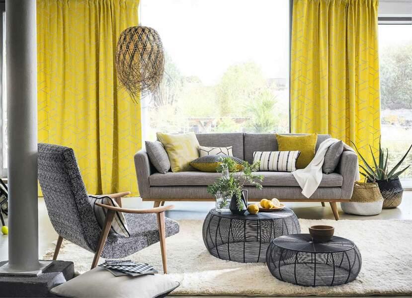 Une déco de salon en jaune et gris